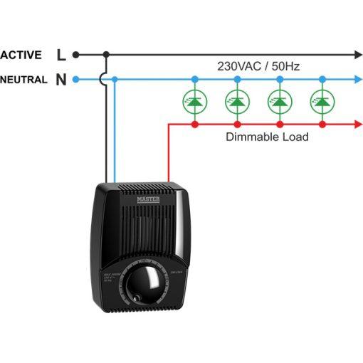 Master Fényerőszabályozó 2500W Fekete 230V , Dimmer