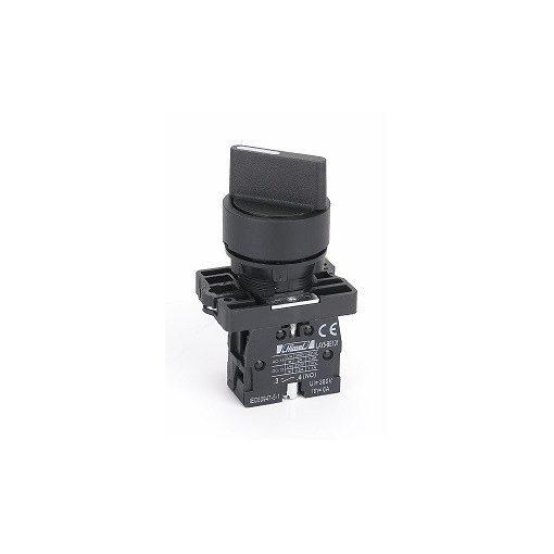 HLAY5-ED25 Fekete műanyag 2 pozíciós választókapcsoló 1NO+1NC