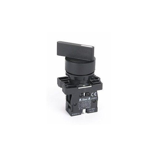 HLAY5-EJ45 Fekete műanyag 2 pozíciós visszatérő hosszúkaros választókapcsoló 1NO+1NC