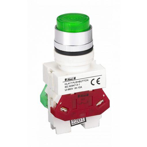 HLAY7-11D Zöld LED világító nyomógomb 220V NO+NC