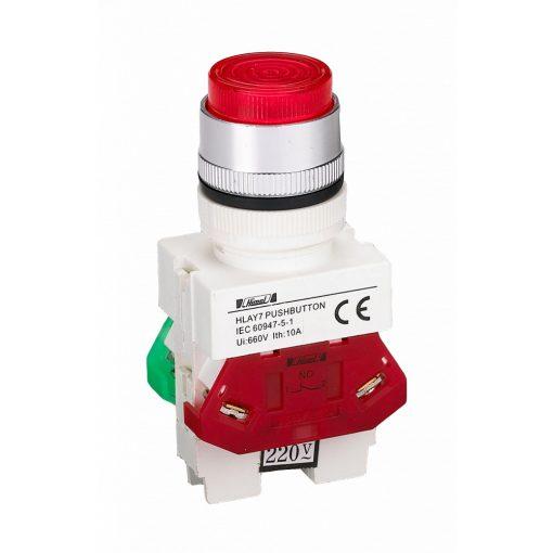 HLAY7-11D Piros LED világító nyomógomb 24V NO+NC