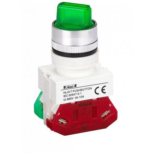 HLAY7-20XD/2 Zöld LED világító 2 pozíciós választókapcsoló 220V 2NO