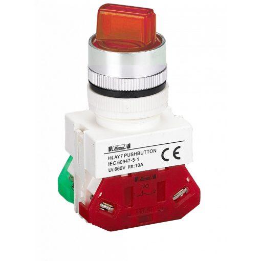 HLAY7-20XD/2 Piros LED világító 2 pozíciós választókapcsoló 220V 2NO