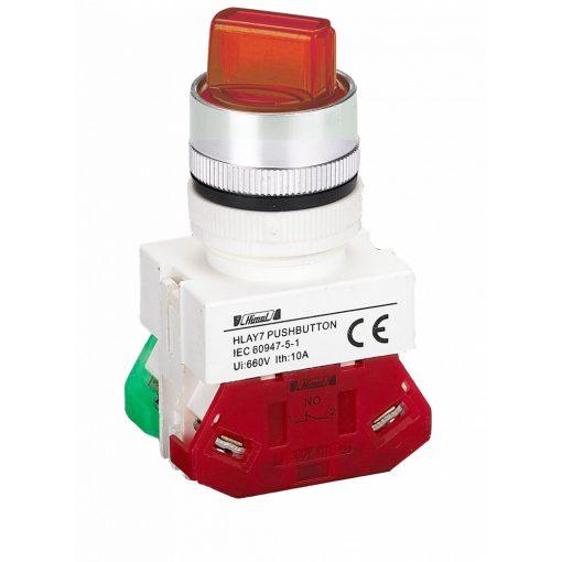 HLAY7-20XD/3 Piros LED világító 3 pozíciós választókapcsoló 24V 2NO
