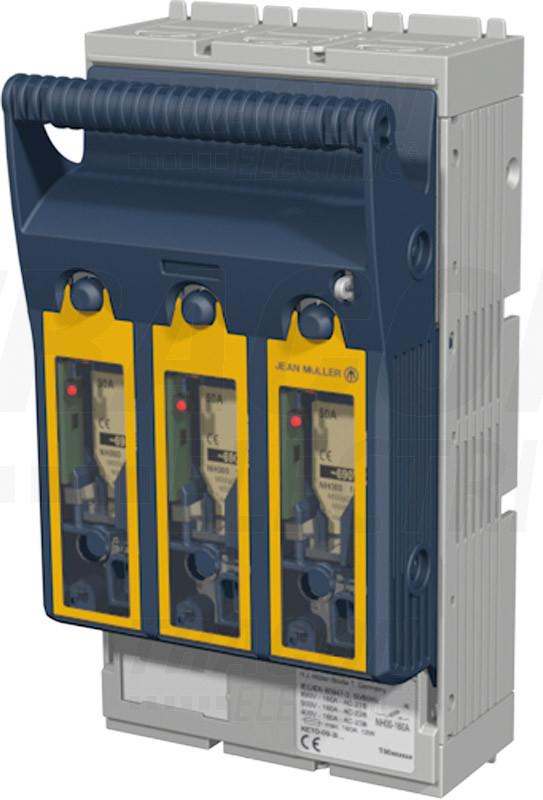 Vízszintes szakaszolókapcsoló-biztosító, szerelőlapra, 3P AC 690V, DC 440V, 400A, 3P, 2